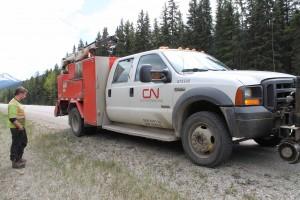 CN rail truck road debris